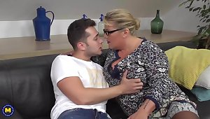 Desperate mother seduce and fuck lucky son