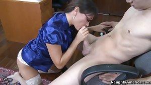 Mature teacher Michelle Lay sucking and bonking Xander Corvus