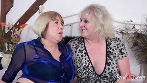 Two horny pornstars Auntie Trisha plus Claire Knight have coition with two big cocks