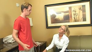 Blonde mature Simone Sonay with glasses milks a young dick on her