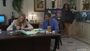 Erotic fucking on the office table with adult secretary Barbara Summer