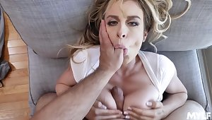 Blonde spliced gagged in POV with the addition of jizzed on tits