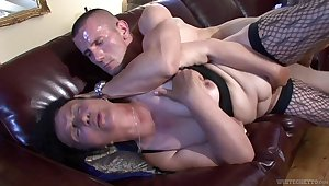 Ugly mature whore fucks a man that's younger than her and she's so naff