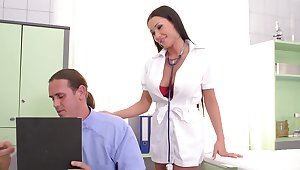 Sexy nurse wants both these heavy dongs to gag her plus cream her ass
