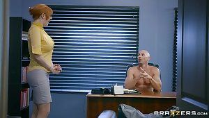 Bosomy redhead is keen to try a bit of hard coitus convenient slay rub elbows with office