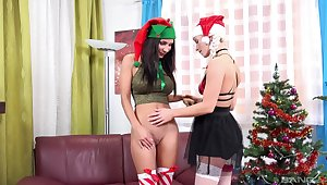 Lesbian special on Christmas Eve for two amateur teens
