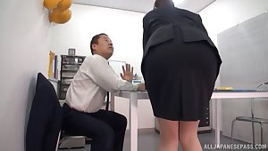 Hot Japanese girl licked under the table during an shudder