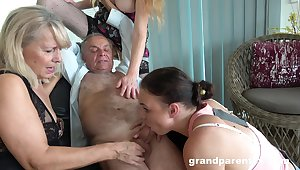 Old man takes his pill and fucks along to slutty mature in crazy action