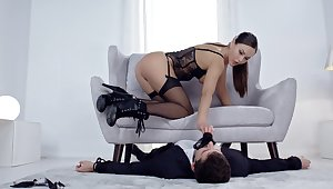 Sweet babe in hot lingerie, day-dream cock riding porn and bare-ass domination