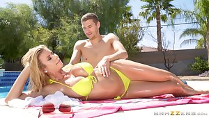 Flaming bald wife goes intimate with the pool pauper