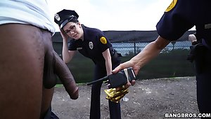Unpredictable intensify police officers Lyla Lali coupled with Norah Gold fucked by a black dude