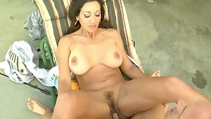 Busty cougar Persia Monir spreads her legs to be fucked hard