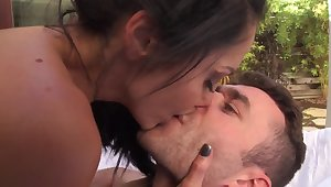 Dark haired MILF Ava Addams riding a proper dick out of the closet